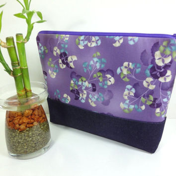 Cosmetic Bag, Travel Pouch, Padded Cosmetic Pouch Japanese Kimono Cotton Fabric Ginkgo Purple