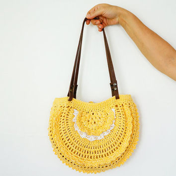Crochet Bag Strap : ... Genuine Leather Straps / Handles shoulder bag-crochet bag-hand made