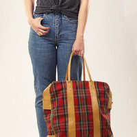 70s Plaid and Vegan Leather Tote / Printed Carry All Bag / Red and Brown Handbag