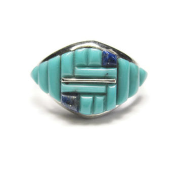 Vintage Zuni Turquoise Lapis Ring Sterling Silver Size 9