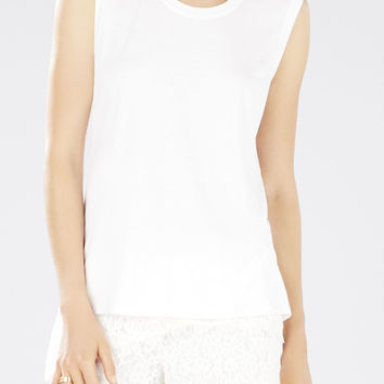 White BCBG Halie Sleeveless Twist Back Top