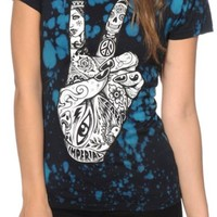 Imperial Motion Peace Hand Blue Tie Dye T-Shirt