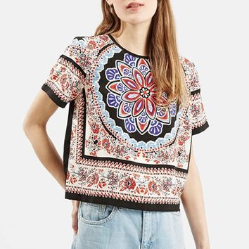 Women's Topshop Scarf Print Short Sleeve Shirt,
