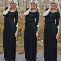 Black Plain Hollow-out Round Neck Long Sleeve Maxi Dress