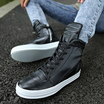 Cool Black Men Casual Zipper Leather Boots Shoes