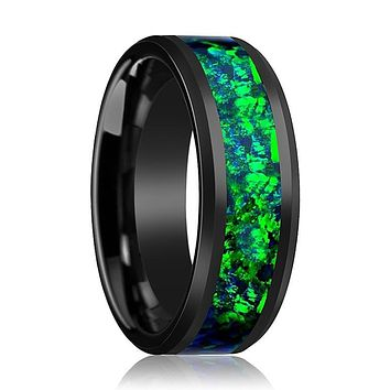 Black Ceramic Ring - Emerald Green & Sapphire Blue Color Opal Inlay  - Ceramic Wedding Band - Beveled - Polished Finish - 6mm - 8mm