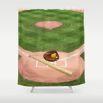 Baseball field /Baseballfeld2 Shower Curtain by Karl-Heinz Lüpke