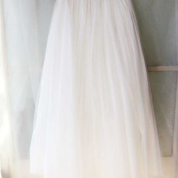 acaa9dba4ae64 Long white maxi skirt. Ankle length maxi tulle skirt. Women tutus in white.  Fairy whit