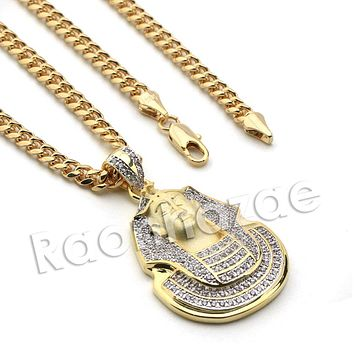Lab diamond Micro Pave Egyptian Pharaoh Pendant w/ Miami Cuban Chain BR035