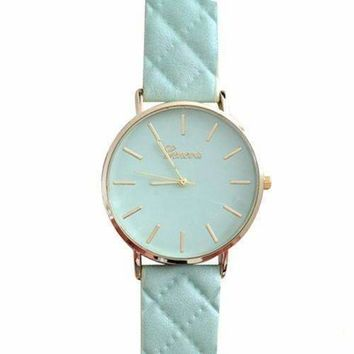 Quilted Leather Geneva Watch in Mint Green