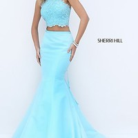 Long Halter Two Piece Mermaid Style Sherri Hill Prom Dress