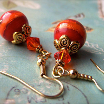 Orange Red Earrings, Lampwork Orange Red Beads, Dangle, Summer Fashion