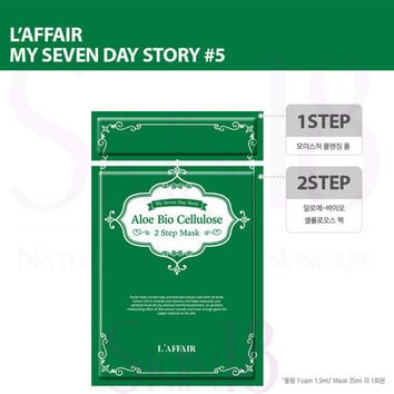 Laffair  [ My Seven Day Story ] #5 (Green) Aloe Bio Cellulose 2 Step Mask  *exp.date 09/18