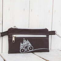 graphite gray bike belt bag waist bag Vegan PRINT screen MOUNTAIN belt bag hipster bag cell phone covers Bicycle Bike
