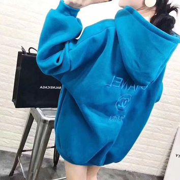 LMFON Chanel' Women Simple Sport Casual Letter Embroidery Long Sleeve Hooded Sweater Tops Hoodie Sweatshirt