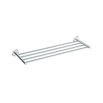 Round Self-Ahdesive 24 in. Towel Rack Bathroom Storage Shelf Holder Chrome