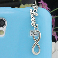 3.5mm Silvery InfinityWish And Love Dust-proof Plug For iphone 4s,iPhone 4,iPhone 3gs,iPod Touch 4,HTC,Nokai,Samsung,Sony