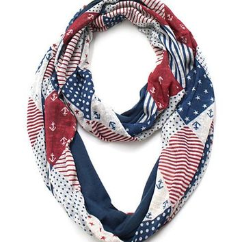 American Flag Quilt Infinity Scarf with Anchor Detail