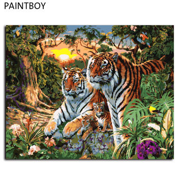 Europe Home Decoration Tiger Family DIY Canvas Oil Painting Frameless Pictures Painting By Numbers Wall Art GX7861 40*50cm