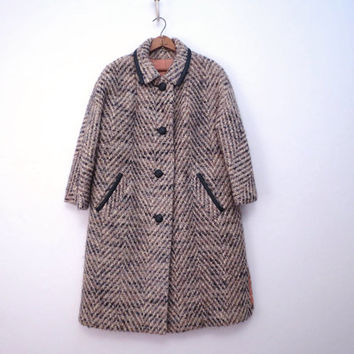 Vintage Tweed Wool Coat Boxy Cut Vintage Size 12 Brown Cream Gray M to L
