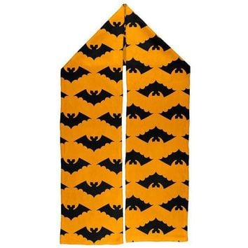 ESBGQ9 Halloween Vamprie Bats Pattern Warm Fleece Scarf