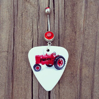 Red Tractor Guitar Pick Dangle Belly Button Ring with red cz stone Silver Surgical Steel Naval Body Jewelry 14 gauge