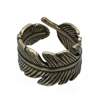 Unisex Finger Ring Bronze Alloy Leave Shape Gothic Style Retro 21MM