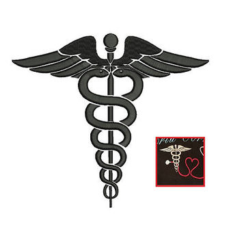 Medical Caduceus Embroidery Design - 3 design sizes machine embroidery INSTANT DOWNLOAD