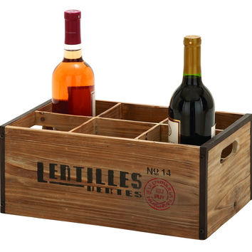 """Wood Wine Holder 14""""W, 6""""H Unique Home Accents"""