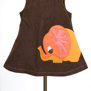 Brown A-Line Dress with Autumn Elephant Felt Applique