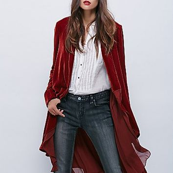 Free People Womens Swingy Velvet Jacket