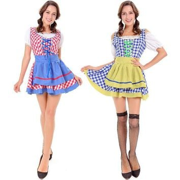 Women's Cotton Checked Oktoberfest Sweetie Inga Long Dress Costume for Bavarian Tradition Beer Waitress Maid Costumes S M L XL