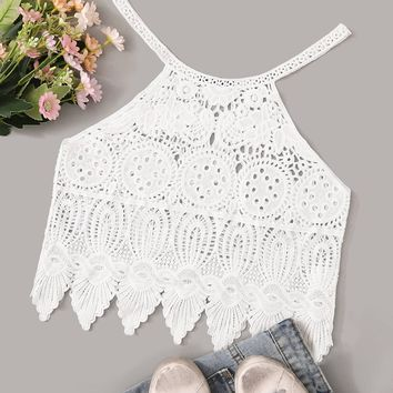 Solid Guipure Lace Crop Cover Up