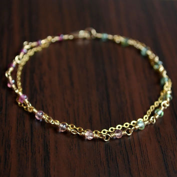 Dainty Tourmaline Bracelet, Gold Filled Jewelry, Green and Pink, Genuine AAA Gemstones, Double Strand, Cable Chain, Free Shipping