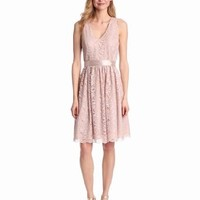 Jessica Howard Women's Fit And Flare Dress With Ribbon Sash, Blush, 10