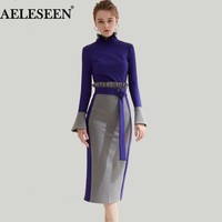 Womens Sets Flare Long-Sleeve Ruffled Slim Contrast Split Patch Skirt