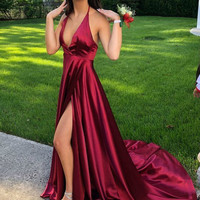 Simple Burgundy Evening Dress 2019 Sexy Deep V neck Formal Gowns with Slit Long Evening Party Dresses K2062