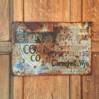 Vintage Carney Coal Co Sign, Coal Advertising Sign, Carneyville, Wyoming, Rust, Industrial Decor, 1910s, 1920s