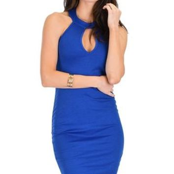 Electric Blue Keyhole Halter Dress