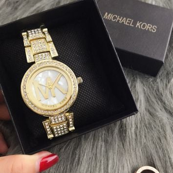 Fashion Luxury Gold Diamond Bling Crystal Michael Kors Watch