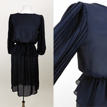 Vintage 1970s Black Sheer Dress // Pleated Arms // Elastic Waist // Medium