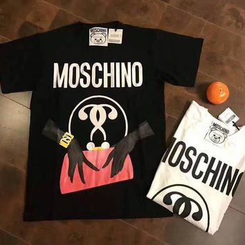 Day-First™ MOSCHINO Woman Men Fashion Print Scoop Neck Tunic Shirt Top Blouse