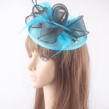 Multiple color sinamay fascinator hats sinamay loops with ostrich quill adorned elegant wedding headwear cocktail facinators