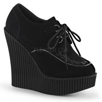 Demonia Creeper 302 Black Vegan Suede Wedge Oxford Shoe
