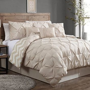 Geneva Home Fashion 7-Piece Ella Pinch Pleat Comforter Set, King, Taupe