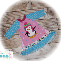 "Girls size 4T  Upcycled New Penguin T-Shirt Swingy A Tunic   12"" x 20"""