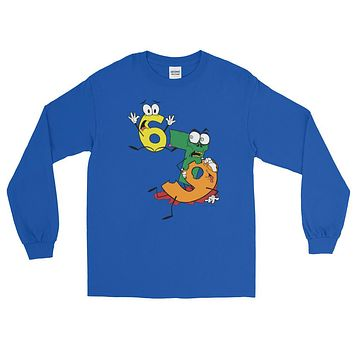 Why was 6 Afraid of 7 Seven Ate Nine Cute Zombie Pun Long Sleeve T-Shirt