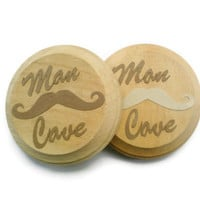 Man Cave coasters.  Wooden coaster with moustache and Man Cave design.