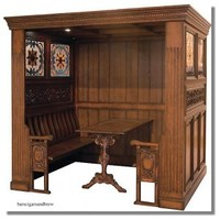 Antique Victorian Restaurant Booths Tiffany Glass antique restaurant booth booths and table [antique restaurant booths] - $3,995.00 : The Kings Bay, Home Bar Furniture