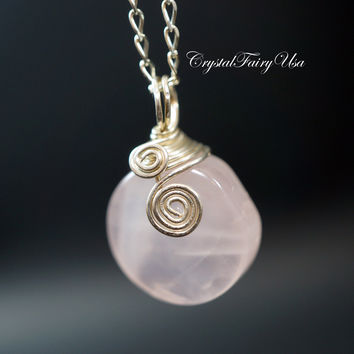 Wrapped Rose Quartz Necklace - Sterling Silver Genuine Rose Quartz Jewelry - Coin Rose Quartz Pendant - Crystal Candy Necklace